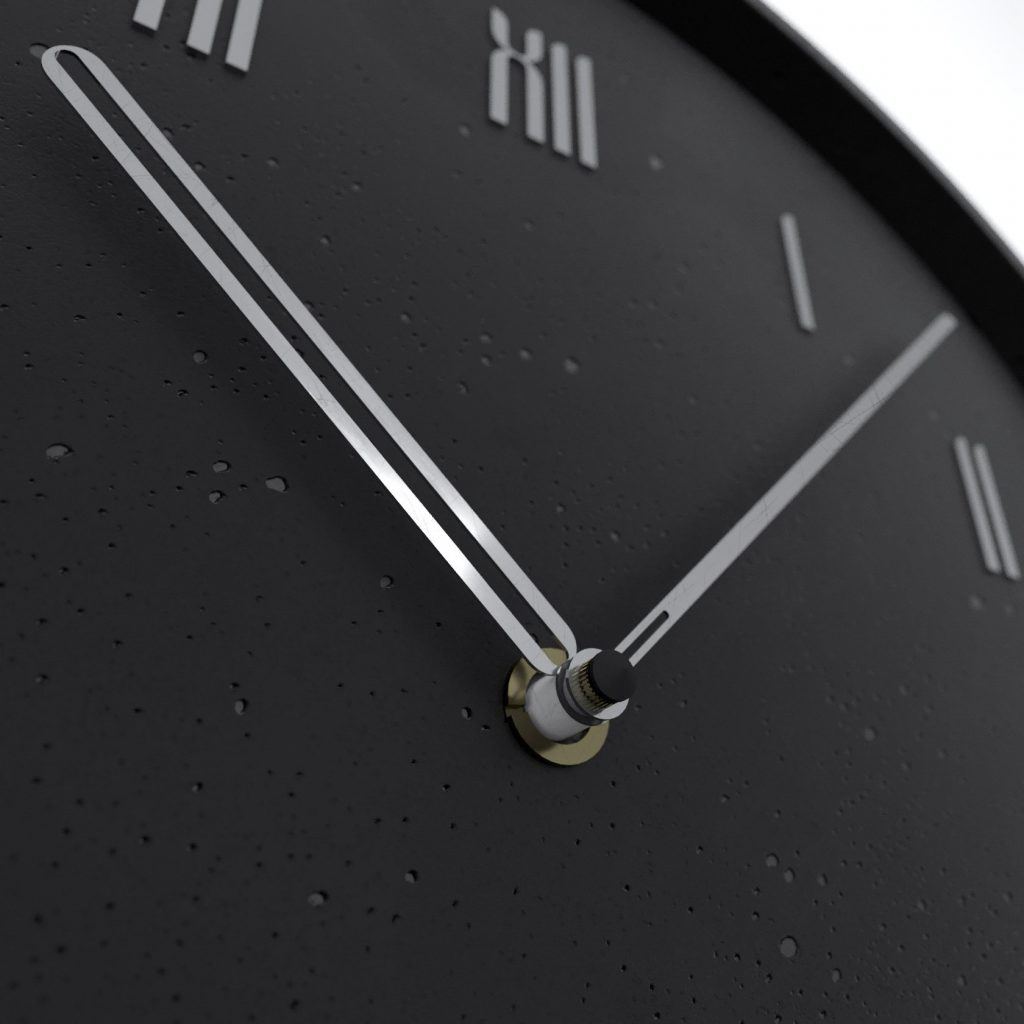 Concrete black wall clock - view on details