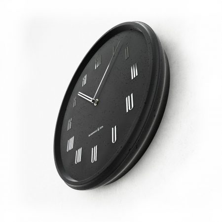 Concrete black wall clock - perspective view