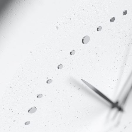 Concrete white wall clock - view on details