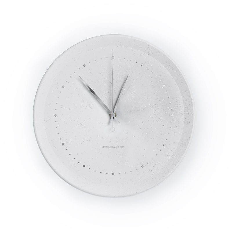 Concrete white wall clock - front view