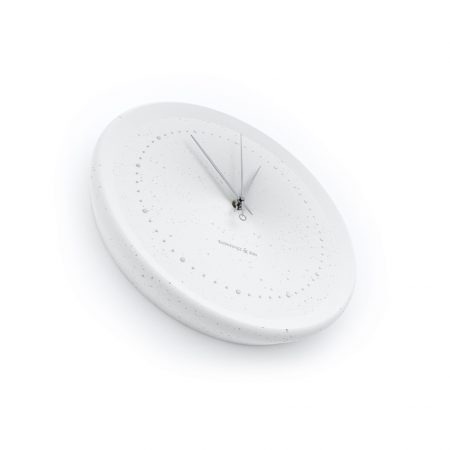 Concrete white wall clock - perspective view