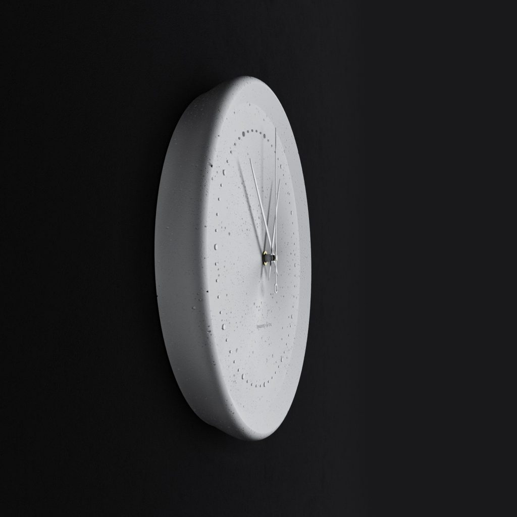 Concrete yellow wall clock - view from the side