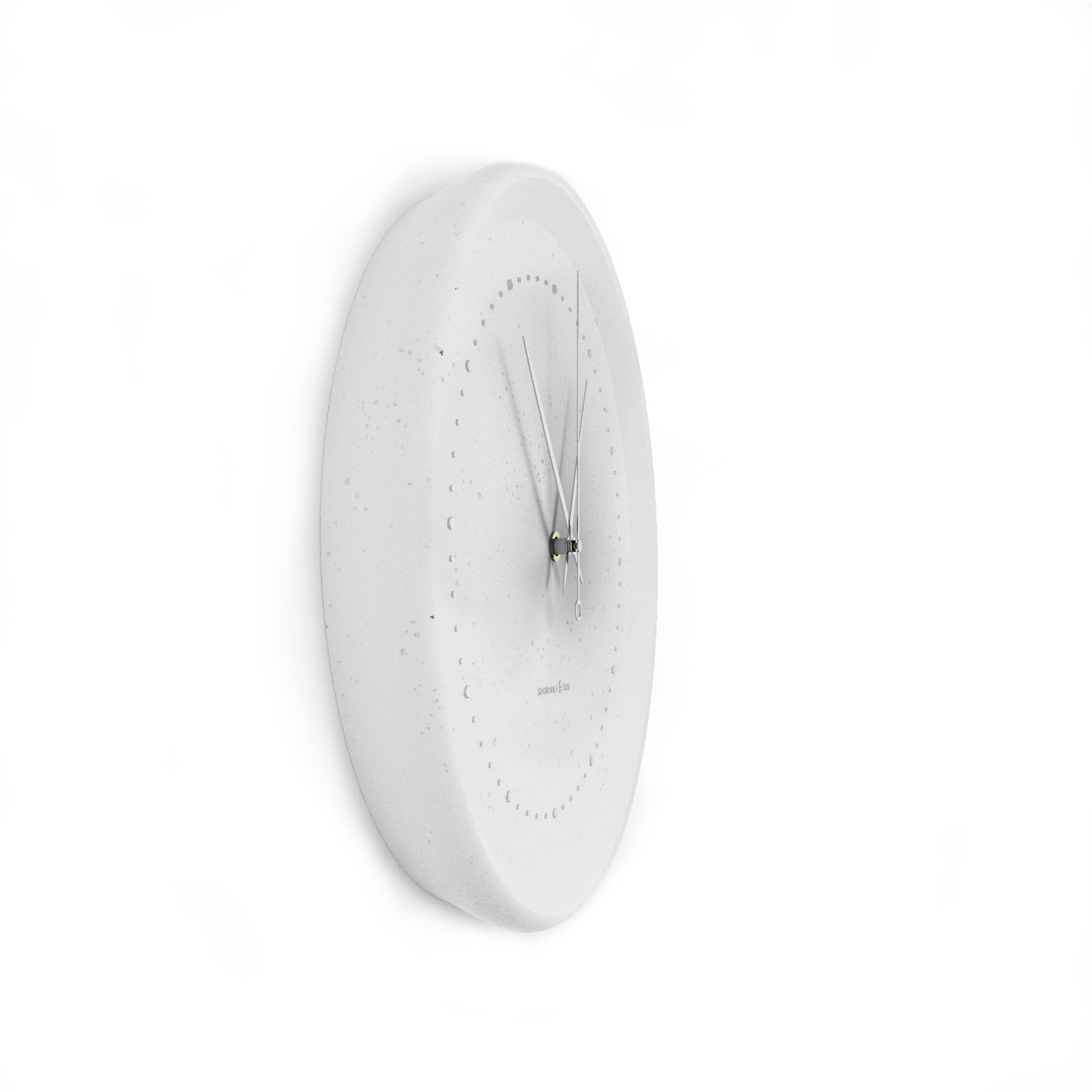 Concrete white wall clock - view from the side
