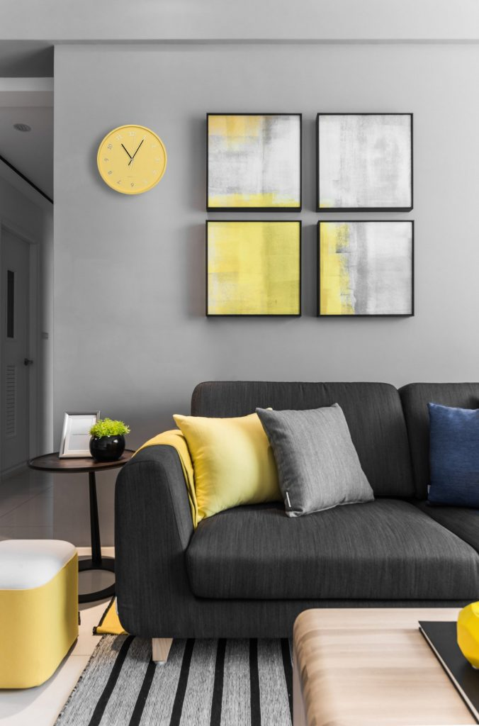 Concrete yellow wall clock - interior design