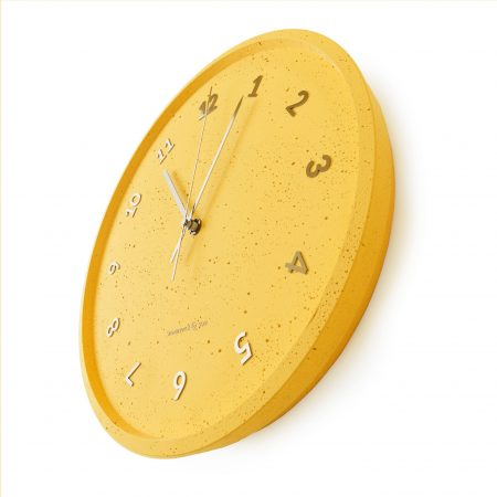 Concrete yellow wall clock - perspective view